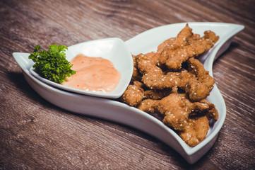 deep fried chiken breast strips