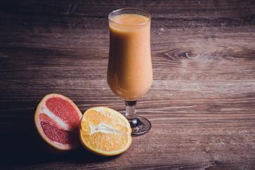 strawberry orange smoothie in high glass