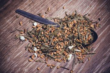 dried herbal tea on spoon