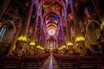 Interior of Cathedral of Santa Maria of Palma (La Seu) in Palma