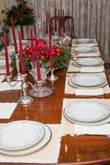 Fine China on Christmas Table