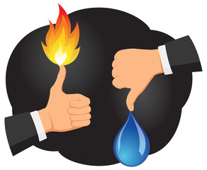 Hands showing thumb up with fire and thumb down with water
