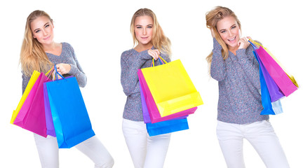 Happy shopper girl collage