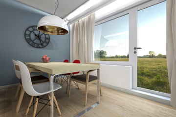 dining table and kitchen interior render
