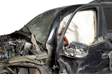 Isolate the front of the black car crash caused by accident