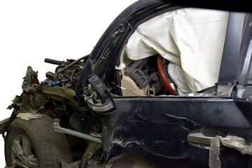 Revealed safety cushion in crumpled car in road accident