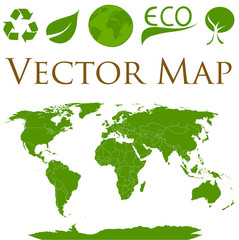 World map with icons of ecology
