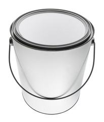 Metal gallon paint can with blank front,  isolated