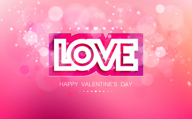 Vector inscription love cut on a pink background