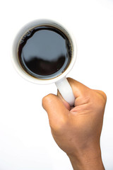Hand hold a take out coffee cup on white background
