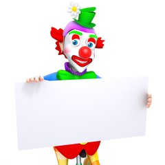 Clown with white panel 3d illustration