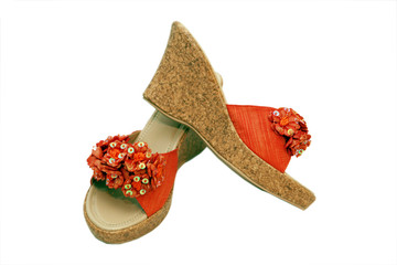 orange-farbene Sommerschuhe