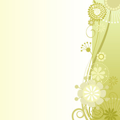 Floral background in mustard