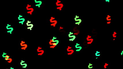 Colorful defocused blinking dollar sign bokeh festive lights