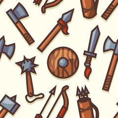 Seamless pattern with medieval weapons icons. Vector.