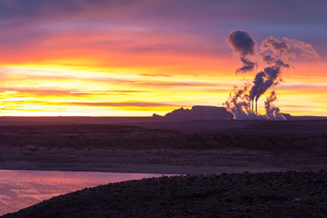Lake Powell at sunrise, clouds and Navajo power station