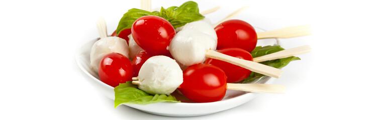 Caprese salad on a sticks. Selective focus.