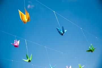 Origami cranes - Stock Image