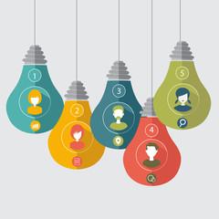 bulbs infographic, idea concept