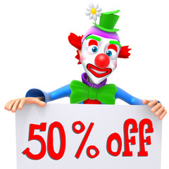 Clown christmas sale 50 percent discount