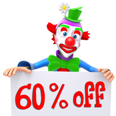 Clown christmas sale 60 percent discount