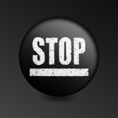 black button with the word stop