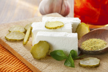 fresh white cheese and vegetables