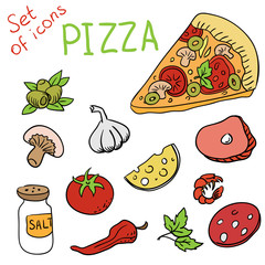 Set of icons - pizza ingredients (vector)
