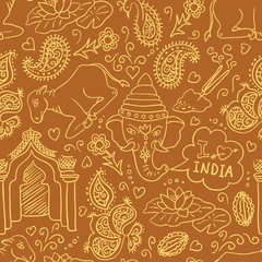 Seamless pattern with the Indian elements (vector)