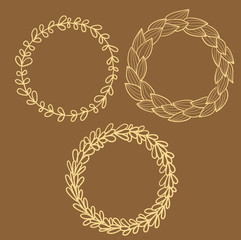 Circle frames from leaves set (vector)