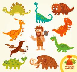 Set funny prehistoric animals. Cartoon character