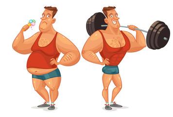 Strongman shakes biceps, lifting large barbell