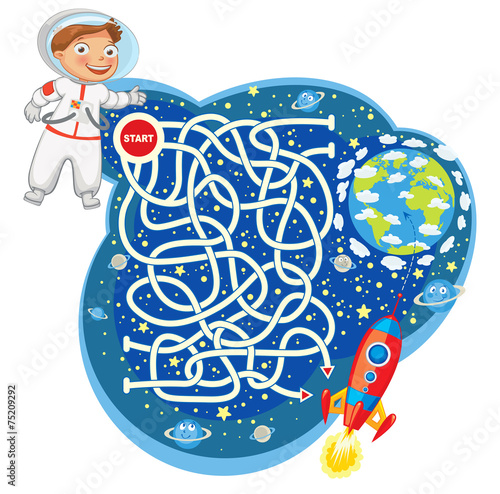 Maze Game with Solution. Funny cartoon character