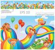 Children slide down on a rainbow. Roller coaster ride - 75209658