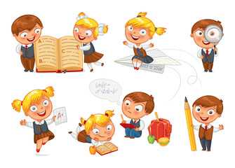 Back to school. Pupils read the textbook
