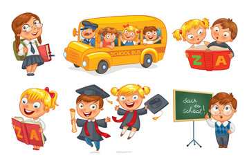 Back to school. Pupils in school uniform