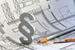 Leinwanddruck Bild - Paragraph, Baurecht, Bauordnung, Bauplan, Gesetz,