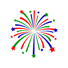 brightly colorful firework vector