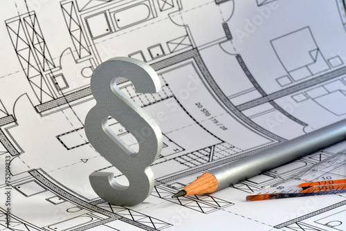 Leinwanddruck Bild Paragraph, Baurecht, Bauordnung, Bauplan, Gesetz,