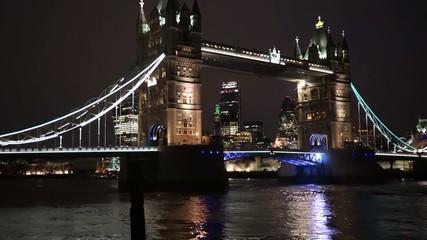 Tower Bridge Lift at Night, zoom in