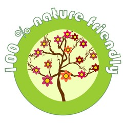 Label 100% nature friendly for organic products