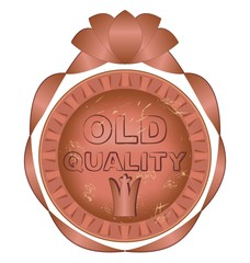 Old quality label copper metal design
