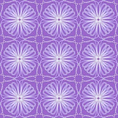 Purple tile with fine white floral patterns