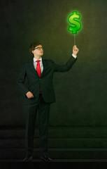 businessman with green dollar