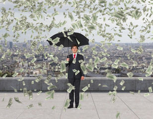 businessman and falling money