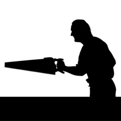 man with chainsaw silhouette