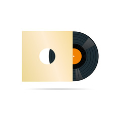 vinyl record in blank cover vector illustration