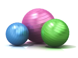 Colorful fitness balls isolated on white background