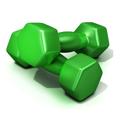Green weights isolated on white background