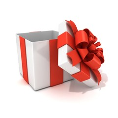 Open, empty, white gift box with red ribbon, 3D render isolated